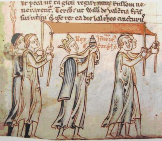 Enrico III porta l'ampolla con il Sacro Sangue all'Abbazia di Westminster. (Chronica majora Matthew Paris)
