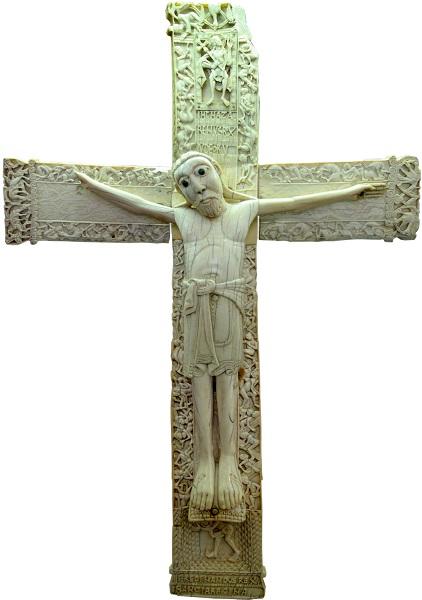 Cristo di Don Fernando e Doña Sancha. Stauroteca in avorio. Sec. XII. Museo Arqueológico (Madrid)