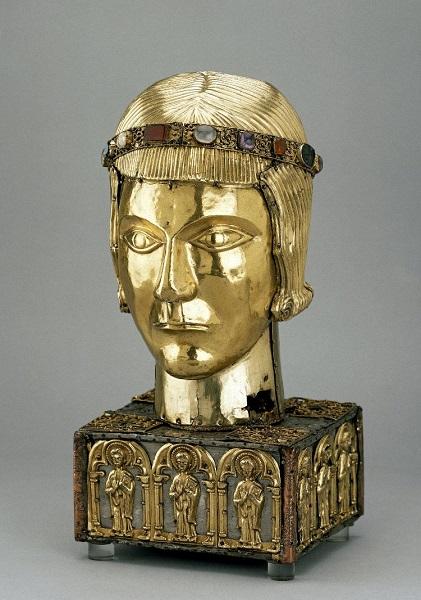 Testa reliquiario di San Eustace (sec. XI). British Museum, Londra