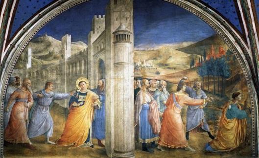 Beato Angelico - Santo Stefano condotto a martirio e lapidazione di Santo Stefano - Cappella Niccolina - Palazzo Apostolico Vaticano
