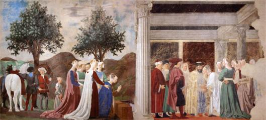 Piero della Francesca (secolo XV). La regina di Saba visita il re Salomone. Ciclo iconografico 'La leggenda della Vera Croce'. Basilica di San Francesco, Arezzo