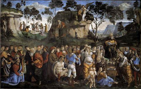 L. Signorelli (secolo XV). Testamento e morte di Mosè. Cappella Sistina, Vaticano