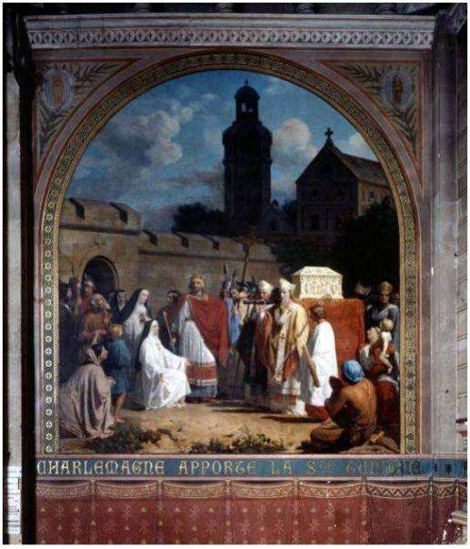 F. Boutewerk (1851): Carlo Magno dona la Sacra Tunica. Basilica di Saint Denis, Argenteuil, dipinto murale situato alla sinistra dell' 'Altare della Tunica'