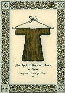 Cartello commemorativo dell'esposizione della Sacra Tunica di Treviri nell'Anno Santo 1933