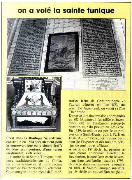 Articolo del del Bollettino Municipale che si fa eco del furto della Sacra Tunica (1983)