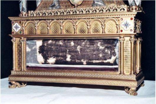 Reliquiario dove è normalmente custodita la Sacra Tunica, arrotolata