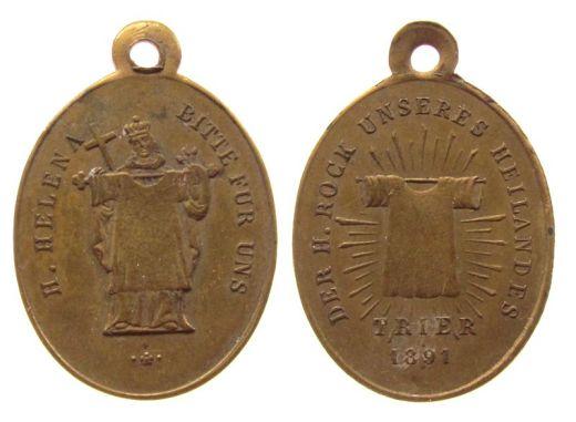 Medaglia commemorativa dell'esposizione del 1891 della Sacra Tunica. In uno dei lati la tunica è sorretta da Sant'Elena