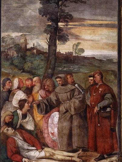 Tiziano, miracolo del piede riattaccato, Padova, Scuola del Santo